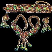 Juliana Fun Beads Watermelon Rhinestone Necklace Bracelet Earrings Parure