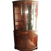 Mahogany Curved Glass China Cabinet, Circa 1940's