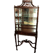 Antique Chinese Chippendale Style Vitrine Display Cabinet