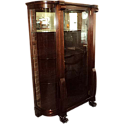 SALE Antique Mahogany Curved Glass China Cabinet, Claw Feet