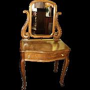 SALE Small Oak Vanity/Dresser w. Swivel Mirror, circa 1900