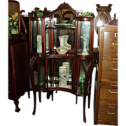 SALE Birch Etagere, Whatnot Shelf, Curved Glass Cabinet, China Cabinet, Price Reduced!