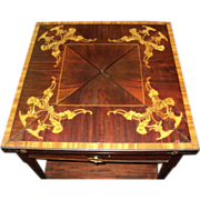 SALE Italian Marquetry Inlaid Games Table, circa early 1900's