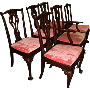 Set of 6 Mahogany Chippendale Style Dining Room Chairs