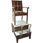 SOLD Antique Shoe Shine Chair with White Marble Base