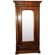 Walnut Eastlake Victorian Single Door Wardrobe