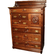 """Tall Cherry Victorian Chest of Drawers """"Daisy Cut"""" Designs"""