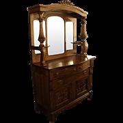 Antique Oak Sideboard Buffet w. Beveled Mirrors