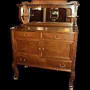 Small Antique Oak Buffet Server