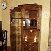 "SALE Oak ""Cowboy Style"" Side by side Desk/Bookcase/Display Cabinet, ON SALE!"