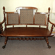 SALE Merklen Brothers Oak Hall Bench, 1885 to 1890, ON SALE!