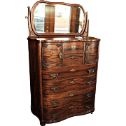 SALE Antique Mahogany Chest of Drawers w. Mirror, Circa 1900