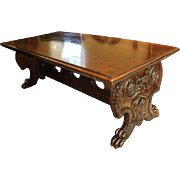 SALE PENDING 19th Century Heavily Carved European Walnut Library Table/Desk, Price Reduction!