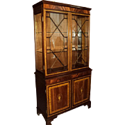 SALE Mahogany China/Display Marquetry Cabinet, Made in England