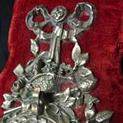 SOLD Imposing antique French red velvet  porte montre rose basket bow motifs