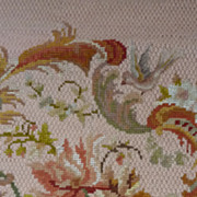 SOLD Delicious vintage French needle point tapestry chair seat panel bird