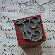 SOLD Delicious vintage French initial F monogram embroidery stamp UNUSED