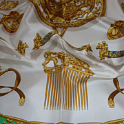 SOLD HERMES Elegant Vintage French  silk scarf LES CAVALIERS D'OR