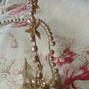 SALE PENDING Faded grandeur French shimmering wax bridal crown / tiara