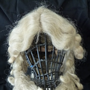SOLD Rare superb 19th C.French hand made blond theatrical curled wig