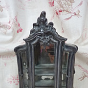 SOLD Miniature antique French cast metal display cabinet vitrine floral detailing