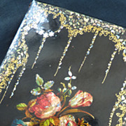 SOLD Charming 19th C. French paper mache  writing portfolio  floral bouquet