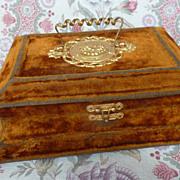 SOLD Faded grandeur gold velvet vanity dresser box circa 1900's