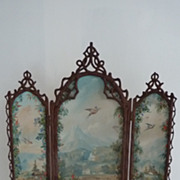 SOLD Rare 19th C. miniature painted folding screen A. GIROUX