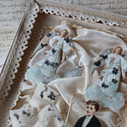SOLD Rare 19th C. French souvenir of childs 1st communion ANGELS
