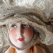 SOLD Elegant frothy doll's tulle artificial flower hat