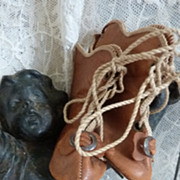 SOLD Darling pr. French doll's leather boots bows  2 3/4 inches long