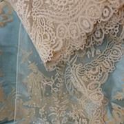 SOLD Flounce 19th C. lace embellished needle bobbin motifs + 5 yards