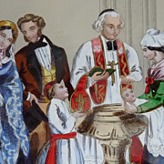 SOLD Decorative 19th C. French candy box CHRISTENING scene