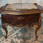 SOLD 19th C. miniature vitrine  commode tortoiseshell bronze mounts