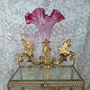 SOLD Unusual 19th C. French wedding display  box  vase , wax finery