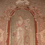 SOLD Elegant 19th C. needlepoint tapestry Neo Classical young woman  lamb