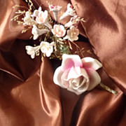 SOLD 19th C. French silk fabric material  Chocolate UNUSED