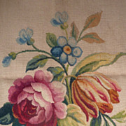 SOLD Superb Aubusson tapestry pillow textile panel Rose tulip bouquet