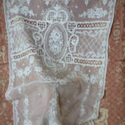 SOLD Delicious French  tulle lace curtain floral motifs hand embroidered