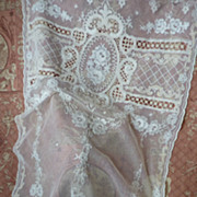 SOLD Delicious French tulle lace curtain, floral motifs hand embroidered ( no. 2 )