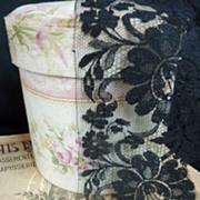 SOLD Unused flounce French black lace Blonde de Caen motifs +7 yards