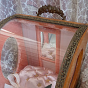 SOLD Antique French presentation wedding casket doll display mignonette diorama