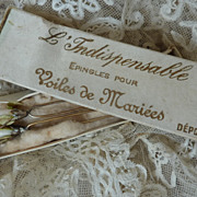 SOLD Rare French bride's wedding veil hair pins with wax buds box