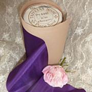 SOLD French purple pure silk taffeta ribbon unused  3 1/2 yards circa 1900