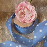 SOLD 7 yards vintage French blue rayon ribbon spots doll projects