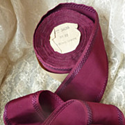 SOLD + 9 yards vintage French rayon ribbon unused claret color