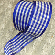 SOLD + 5 yards old French purple and white checked ribbon unused