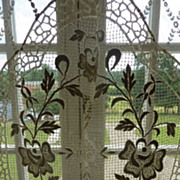 SOLD Delicious antique French unused lace curtain rose motifs.