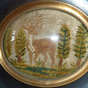 SOLD Charming 19th C. French chenille needlepoint embroidery stag