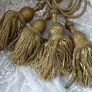 SOLD 4 Antique French metallic gold tassels religious vestment